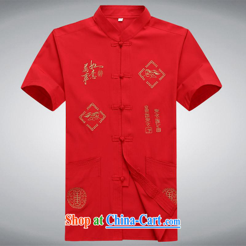 100 brigade BaiLv summer stylish thin, for comfortable short-sleeved-buckle Casual Shirt red XXL
