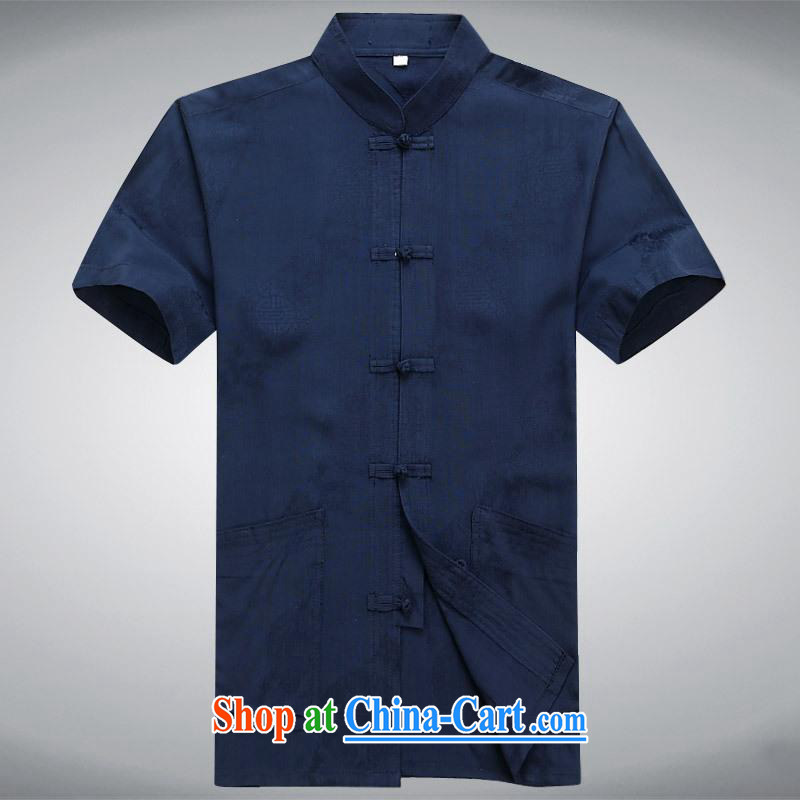 100 brigade BaiLv summer stylish thin, for comfortable short-sleeved-tie Casual Shirt dark blue M