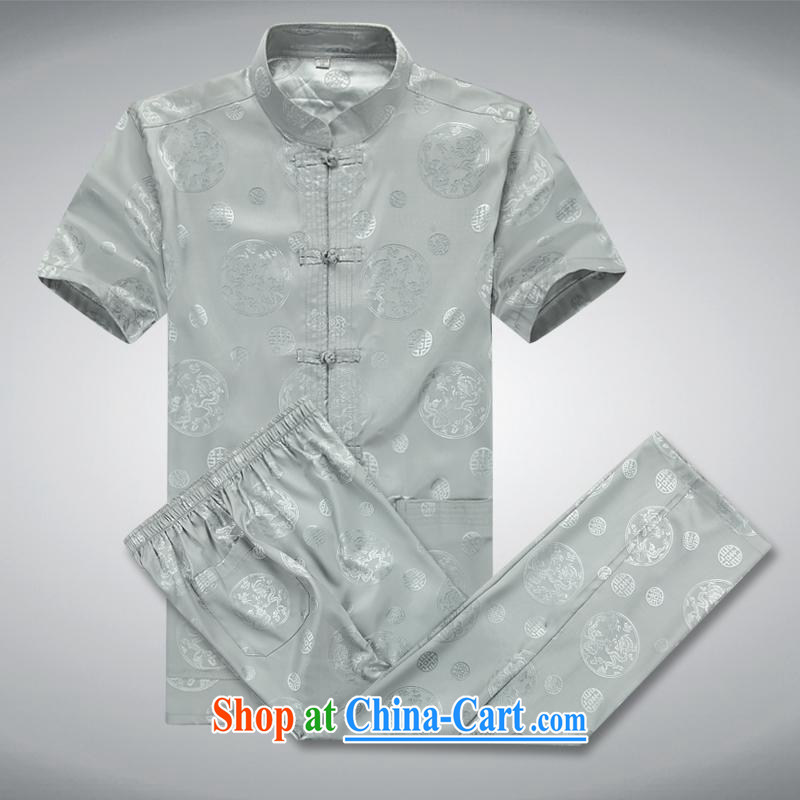 100 brigade BaiLv summer stylish thin, for comfortable short-sleeve-snap Leisure package light gray XXXL
