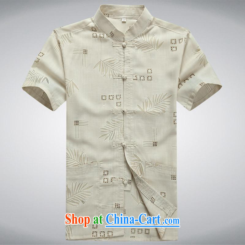 100 brigade BaiLv summer stylish thin, for comfortable short-sleeved-tie Casual Shirt yellow S