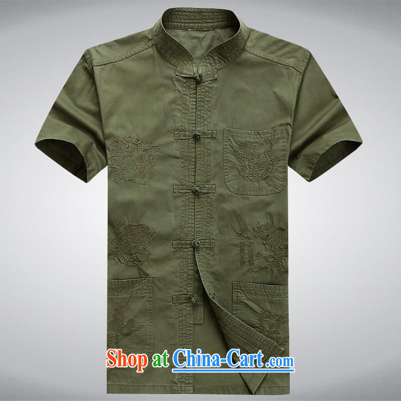 100 brigade Bailv summer stylish thin disk for leisure short-sleeve and collar comfort T-shirt military green XL