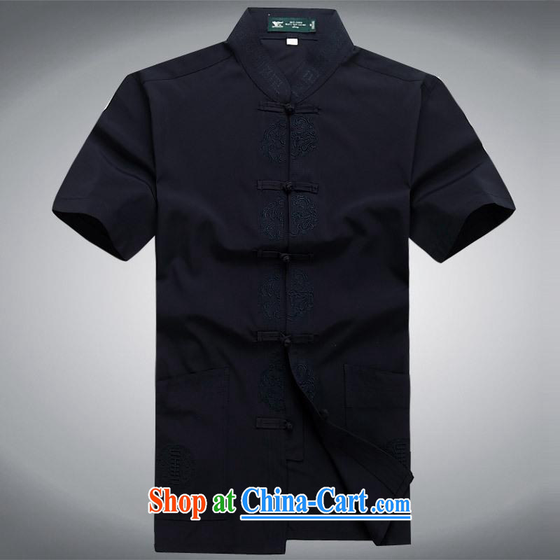 100 brigade Bailv summer stylish thin disk for leisure short-sleeve and collar Comfort Kit dark blue XXL