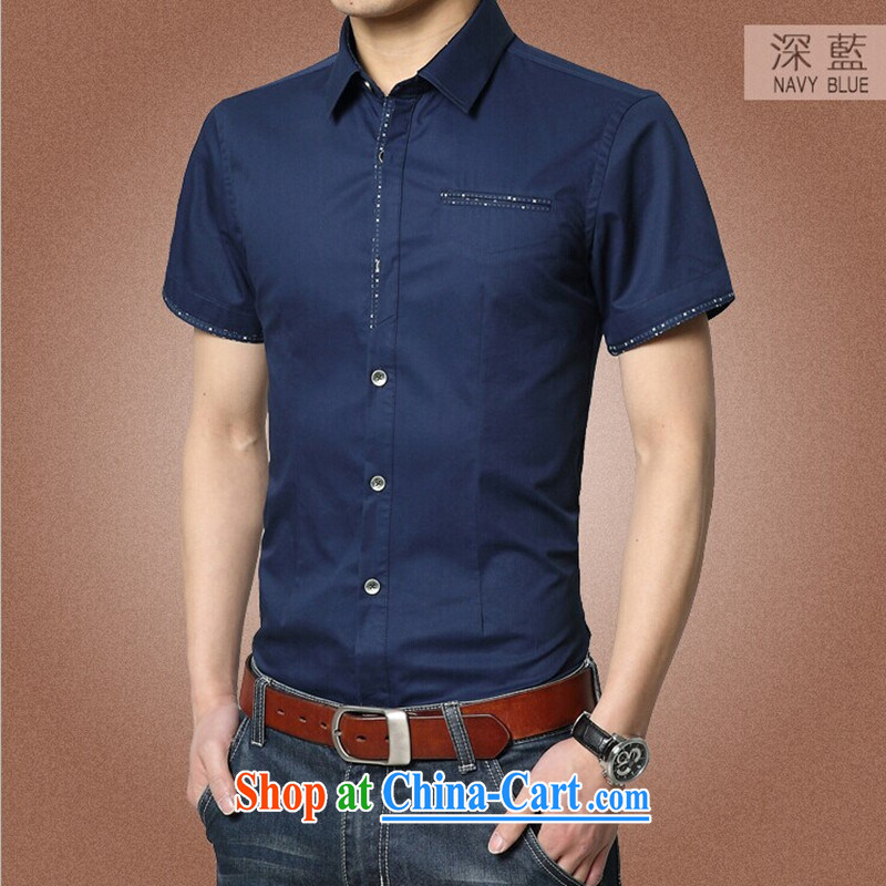 Kai Lok where summer 2015 New Men's T-shirt cotton men's shirts beauty male 04 dark blue XXXL 185