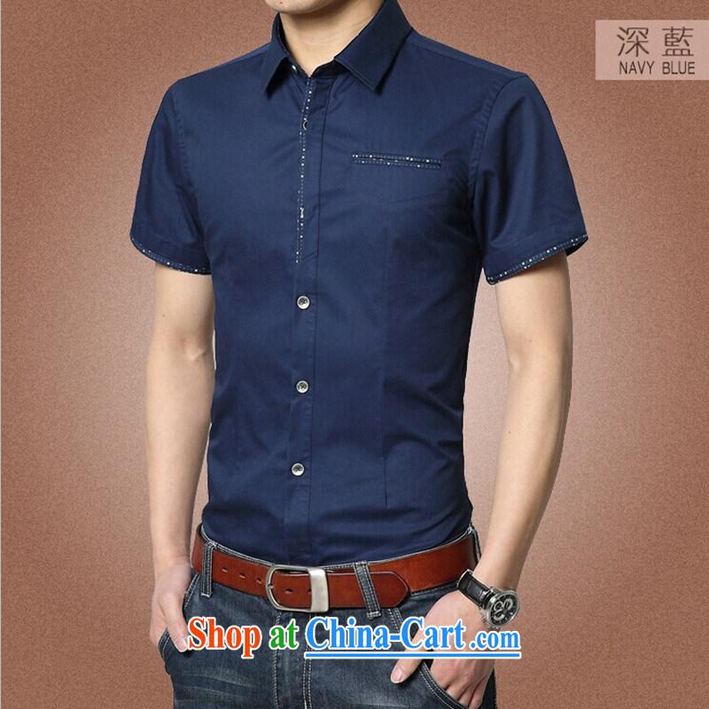 Kai Lok where summer 2015 New Men's T-shirt cotton men's shirts beauty male 04 dark blue XXXL 185
