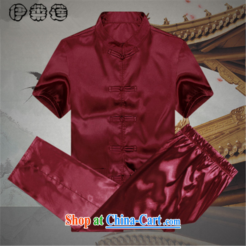 Mr. Lin 2015 summer, older spring and summer silk-tie practitioners serving simple men's short-sleeved larger Chinese traditional national costume Kit red 190