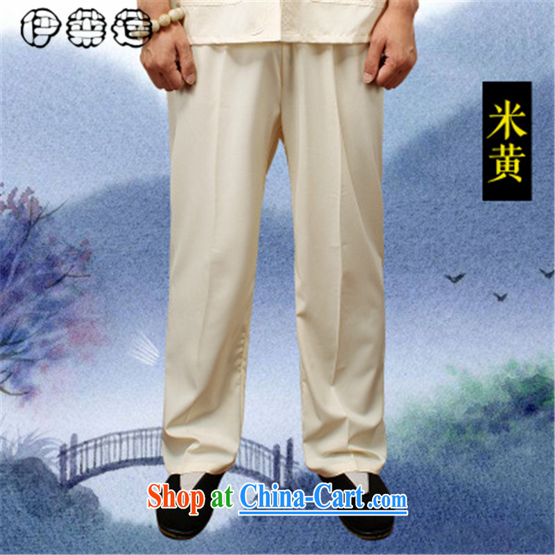 Mr. Lin 2015 summer, middle-aged and older pants men's summer, thin father pants older men and pants elasticated waist summer leisure large code trousers Tang on the Cornhusk yellow XXXXL