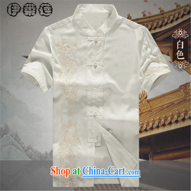 Mr. Lin 2015 summer, men's Tang is a short-sleeved, older short-sleeved large code Tang jackets short-sleeved men's Summer for the long term load short shirt T-shirt white 190