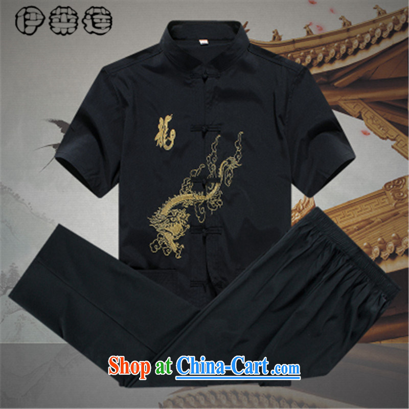 Mr. Lin 2015 summer, men's short-sleeved, older Chinese summer shirt Older People's Congress, China Summer wind men Tang package black 185