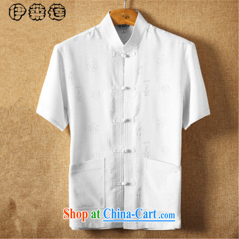 Mr. Lin 2015 summer, Chinese men's China wind middle-aged men's T-shirt summer Chinese, for loose the Code, the shirt white B 185