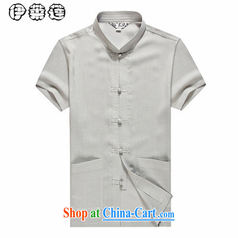 Mr. Lin 2015 summer, middle-aged and older Chinese men's summer new short-sleeved middle-aged large, loose T-shirt Dad loaded linen summer gray 185