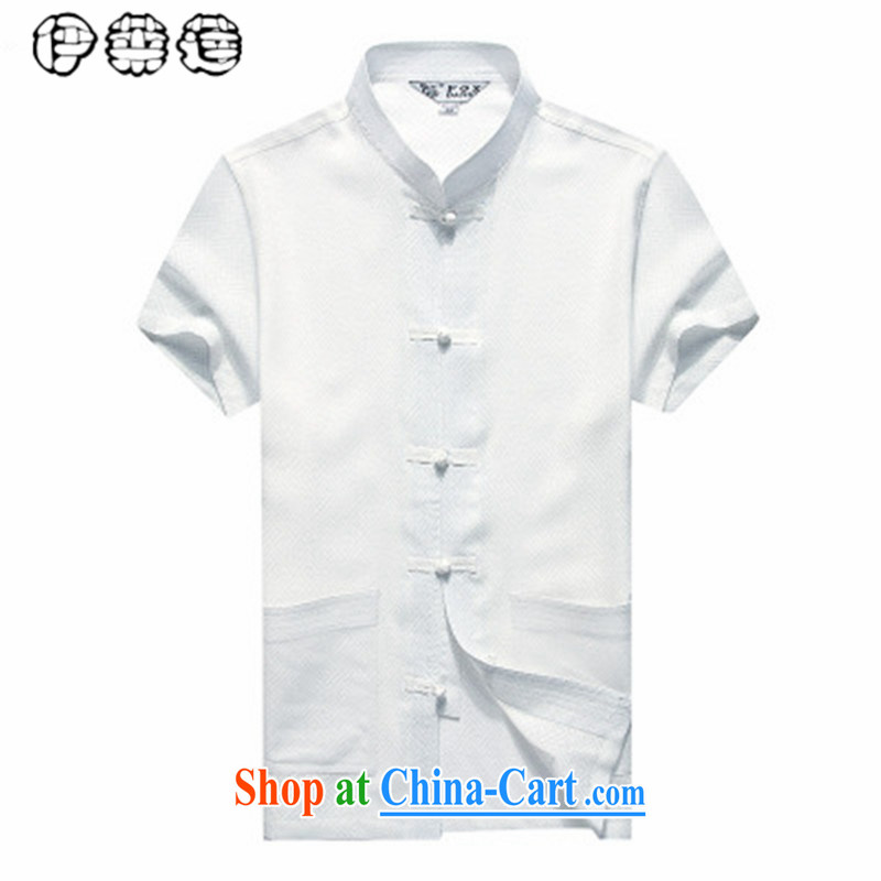 Mr. Lin 2015 summer, middle-aged men Tang is short-sleeved shirt linen middle-aged and older men's loose the code father replacing China wind half sleeves T-shirt white 185