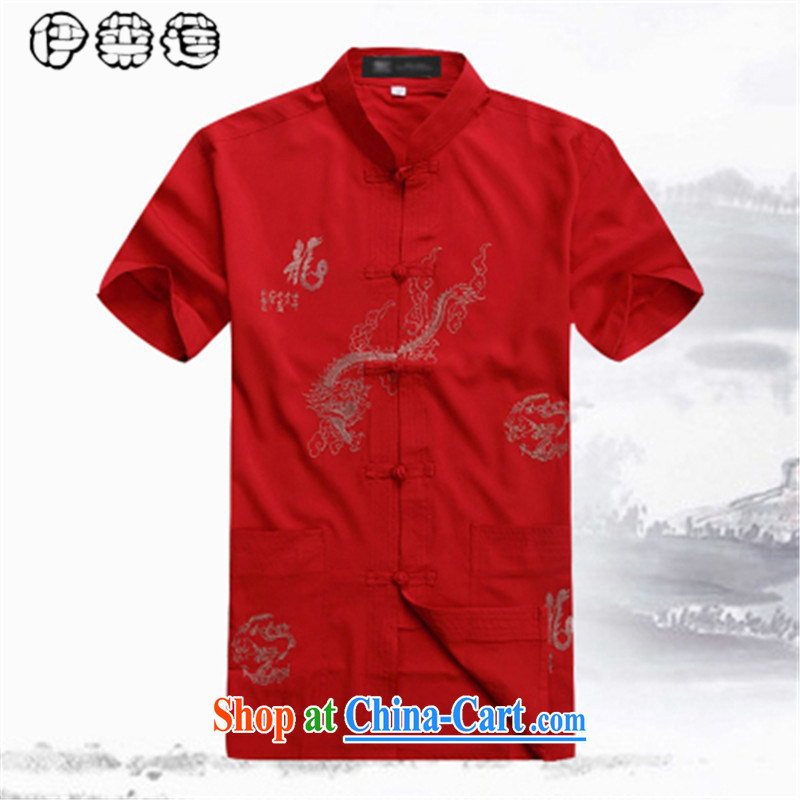 Mr. Lin 2015 summer, middle-aged men's short-sleeved Chinese shirt middle-aged and older father loose the code linen with Grandpa, for hands-free hot half sleeves T-shirt red 185