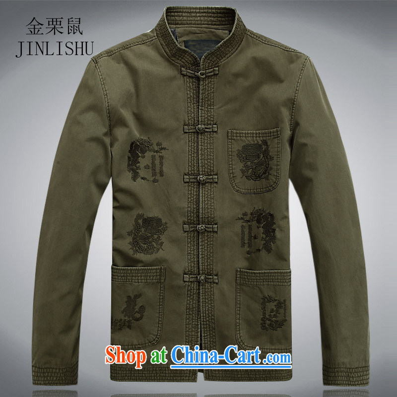 The chestnut mouse New Men's long-sleeved spring loaded Tang in older Chinese men and older persons Tang long-sleeved jacket, collar-tie men's green XXXL