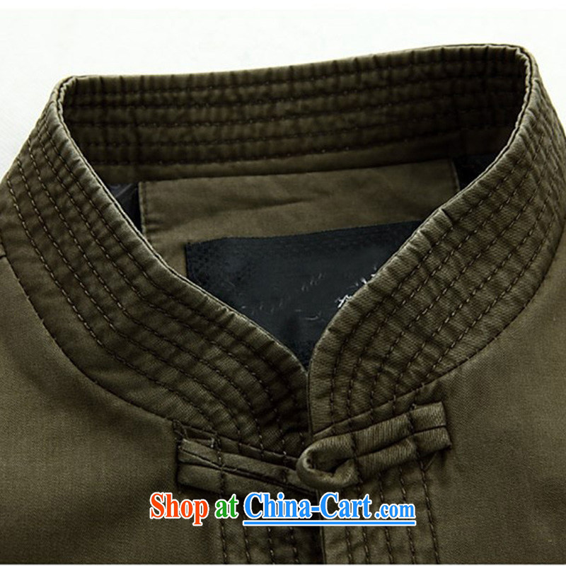 The chestnut mouse New Men's long-sleeved spring loaded Tang in older Chinese men and older persons Tang long-sleeved jacket, collar-tie men's green XXXL, the chestnut mouse (JINLISHU), online shopping