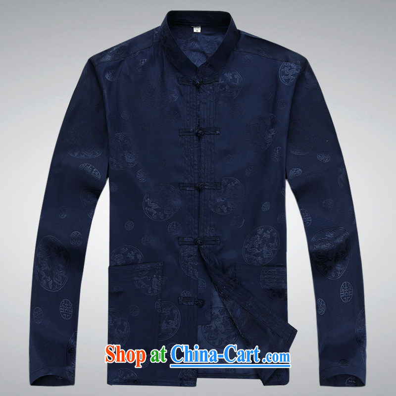 100 brigade BaiLv summer stylish thin, for comfortable long-sleeved tray snap Leisure package deep blue XXXL