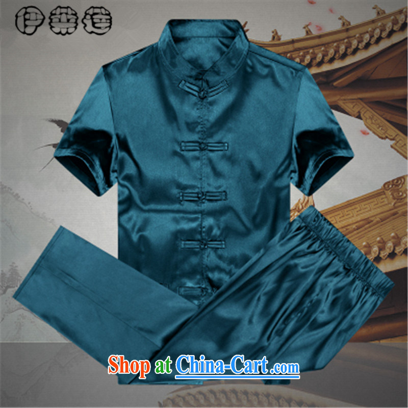 Mr. Lin 2015 Mr Ronald ARCULLI, Mr Tang is a silk men's T-shirt with short sleeves and older persons, served Chinese style men's loose the code short sleeve blue 190