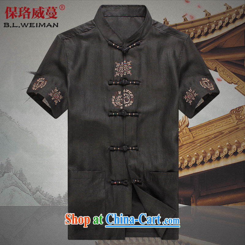 the Lhoba people, evergreens 100 % true silk Chinese men and short Hong Kong cloud yarn short-sleeved Chinese men and summer, older clothing older persons embroidery incense cloud yarn black 3 XL