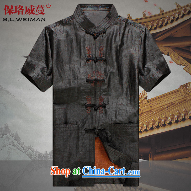 the Lhoba people, spreading Chinese men silk summer is indeed the shirt incense cloud yarn Tang replacing men and a short-sleeved clothes on older 100 _ sauna silk Tang black 4XL