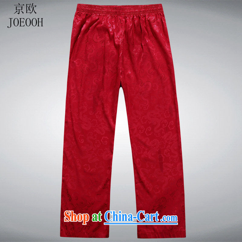 The Beijing Summer trousers short pants Chinese Chinese men's trousers with elasticated pants jogging pants red XXL