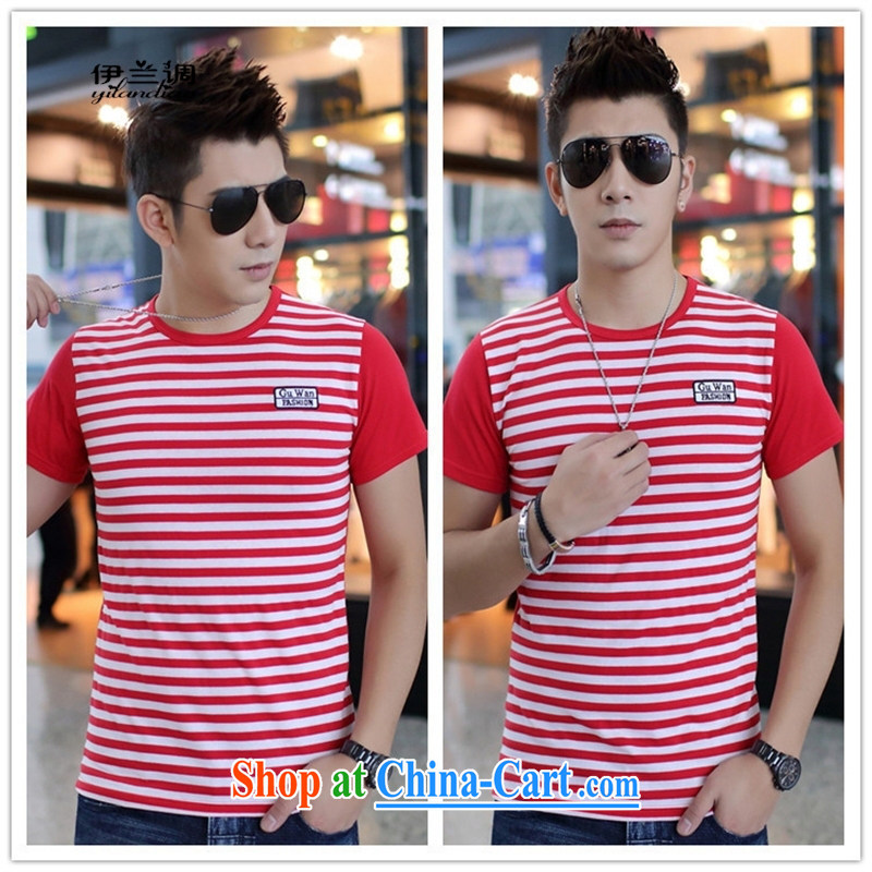 9 month female * 2015 summer new young men's cotton short-sleeved striped T shirt leisure and men's T shirt army green XXL