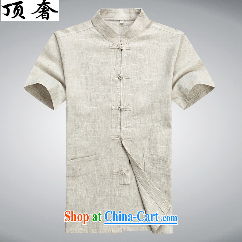 Top Luxury summer, older short-sleeved linen Chinese Chinese father with leisure package men Han-morning exercises his shirt loose version Youth Chinese day T-shirt beige T-shirt 190