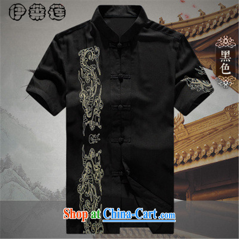 Mr. Lin 2015 summer, older people in Chinese men's short-sleeved T-shirt men's clothing spring/summer men's Tang jackets large code t-shirt shirt elderly men and clothes black 190
