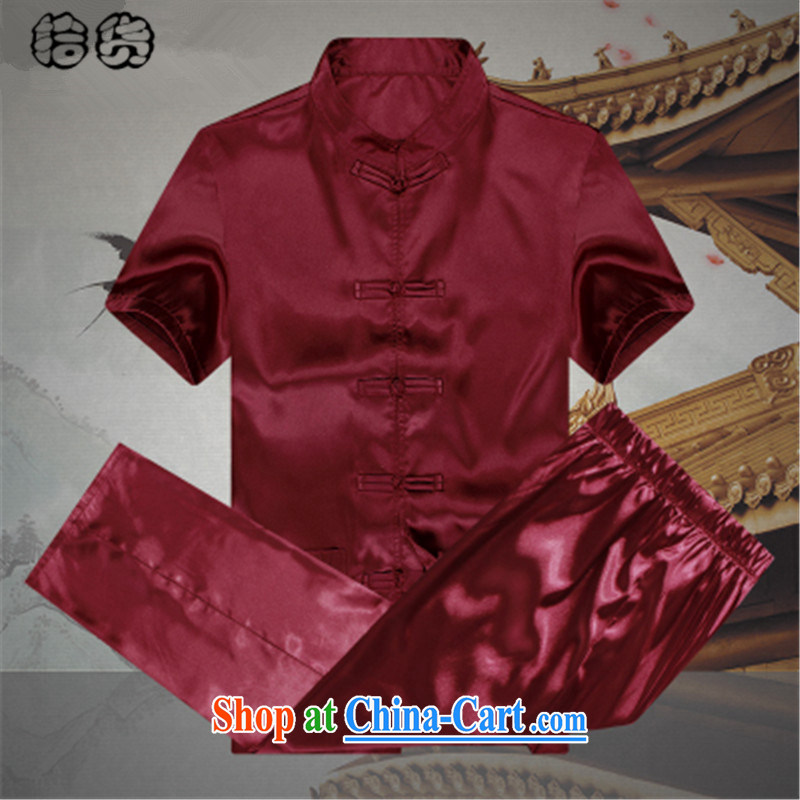 Pick up the 2015 summer, men with short set short-sleeved middle-aged and older persons and loose the code father T-shirt pants grandfather summer jackets T-shirt red 190