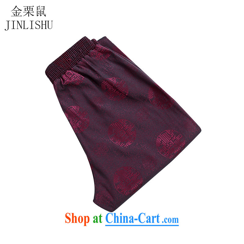 The chestnut mouse and men's spring and summer trousers Chinese cotton Tang on the code loose breathable drape, older pants red 1904 XL