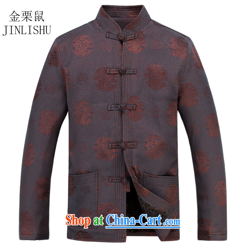 The poppy in the older Chinese T-shirt long-sleeved Chinese Han-Yau Ma Tei Cotton Men's Chinese leisure father with brown XXXL, the chestnut mouse (JINLISHU), shopping on the Internet