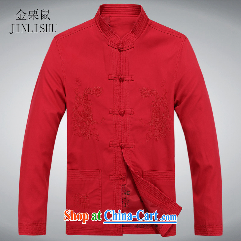 The chestnut mouse China wind up for Chinese T-shirt high quality Chinese shirt, older men and Chinese long-sleeved jacket red XXXL