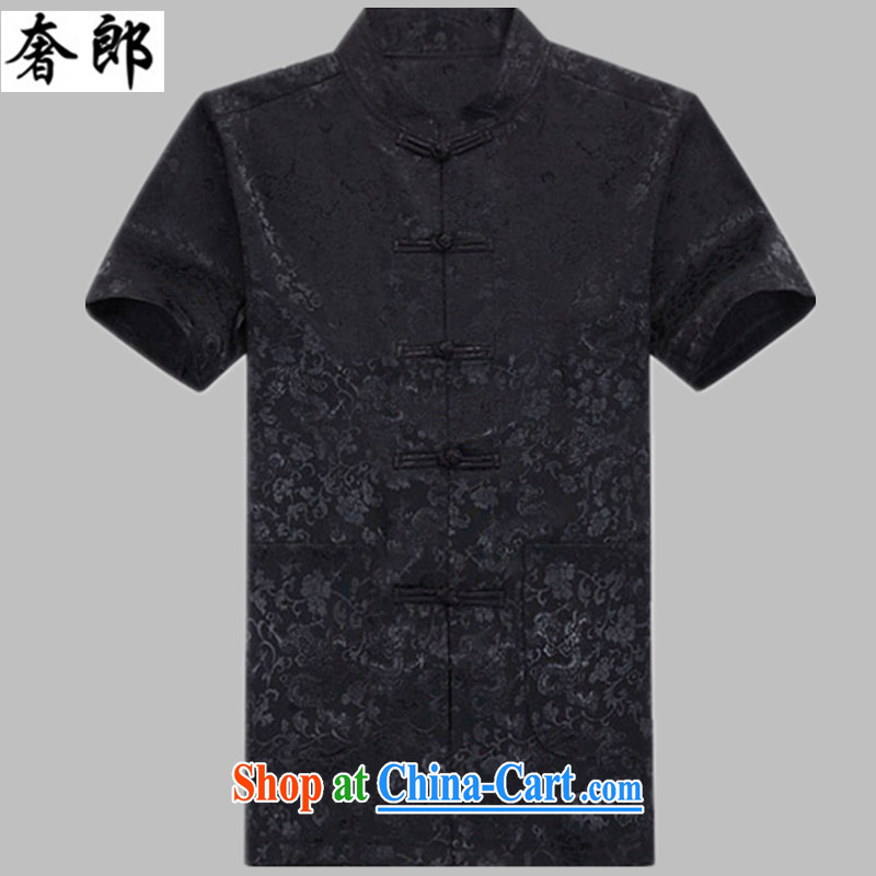 extravagance, summer, new men's Chinese short-sleeved sauna silk, older people's congress, Chinese summer half sleeve Chinese Grandpa loaded manually onto the short-sleeved, for Tai Chi uniform black kit 165_L