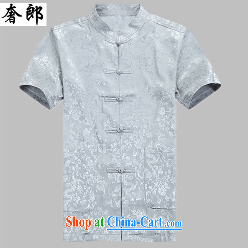 Indulge in health older men and the Summer Wind China in older Chinese men and a short-sleeved, Grandpa for replacing older men's Chinese shirt Chinese improved hand-back service, light gray suit 170_XL