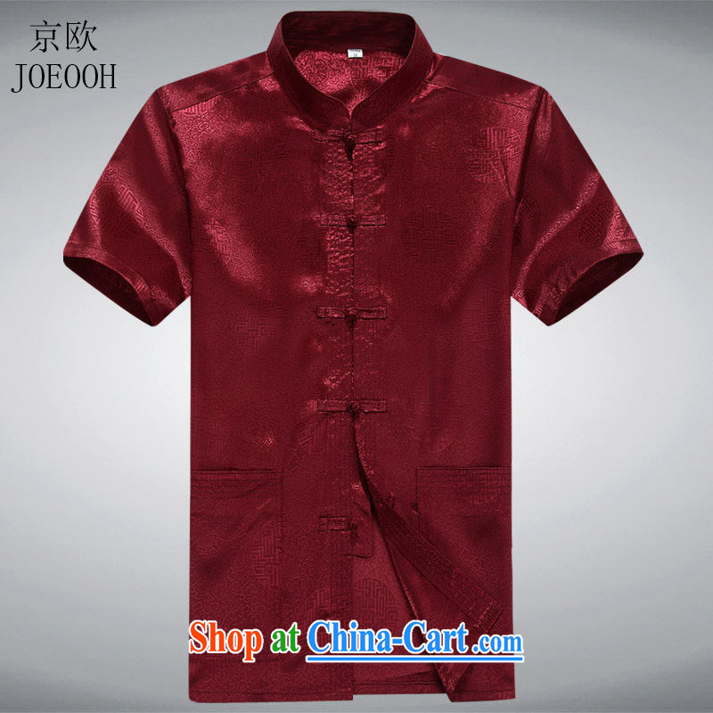 Putin's European men's Chinese summer Chinese short-sleeved Grandpa T-shirt with older people in men's summer red XXXL