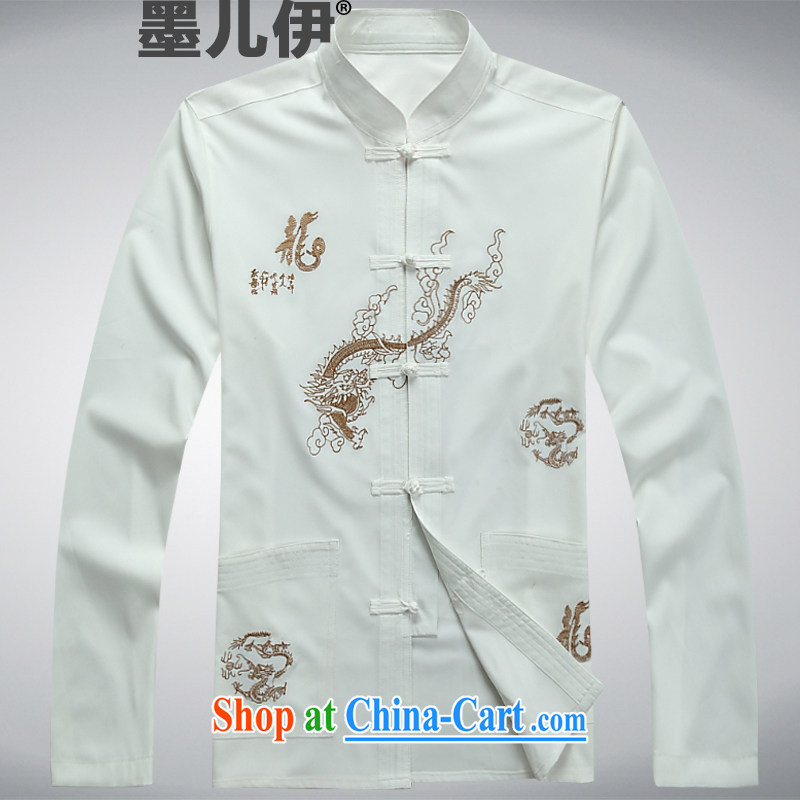 China, Chinese men and taxi stand collar long-sleeved cultivating Chinese jacket men's cotton and stylish white L
