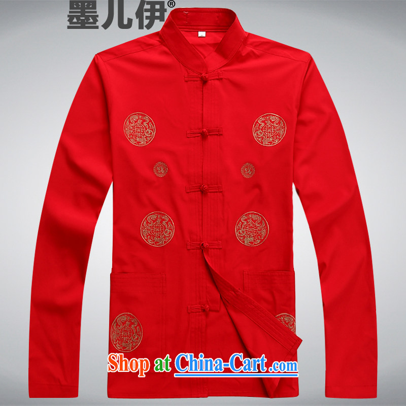2015 Chinese men's Chinese summer wear long-sleeved T-shirt Chinese wind retro shirt Ethnic Wind red XXXL