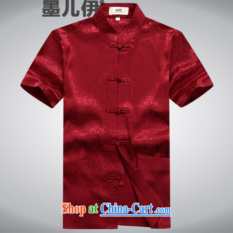 Chinese men and new short-sleeved Chinese men and older men and leisure summer Chinese clothing elderly ethnic wind deep red XXXL