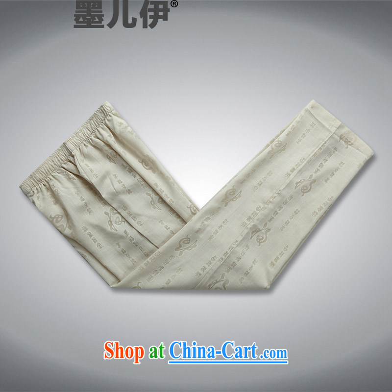 New Men and Tang with a short-sleeved summer linen china wind Chinese, Cheong Wa Dae for middle-aged hand-tie men improved Chinese package half sleeve shirt cynosure serving beige pants S