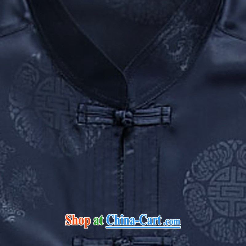 Summer China wind Chinese men's short-sleeved older people in his grandfather summer dark blue XXXL, the child (MORE YI), shopping on the Internet