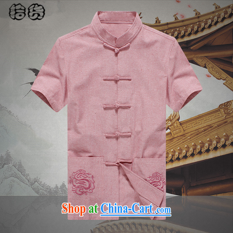 Pick up the 2015 summer, men's short-sleeved Chinese T-shirt shirt loose the code Youth Chinese leisure linen from ironing shirt cynosure serving Chinese men and pink 190