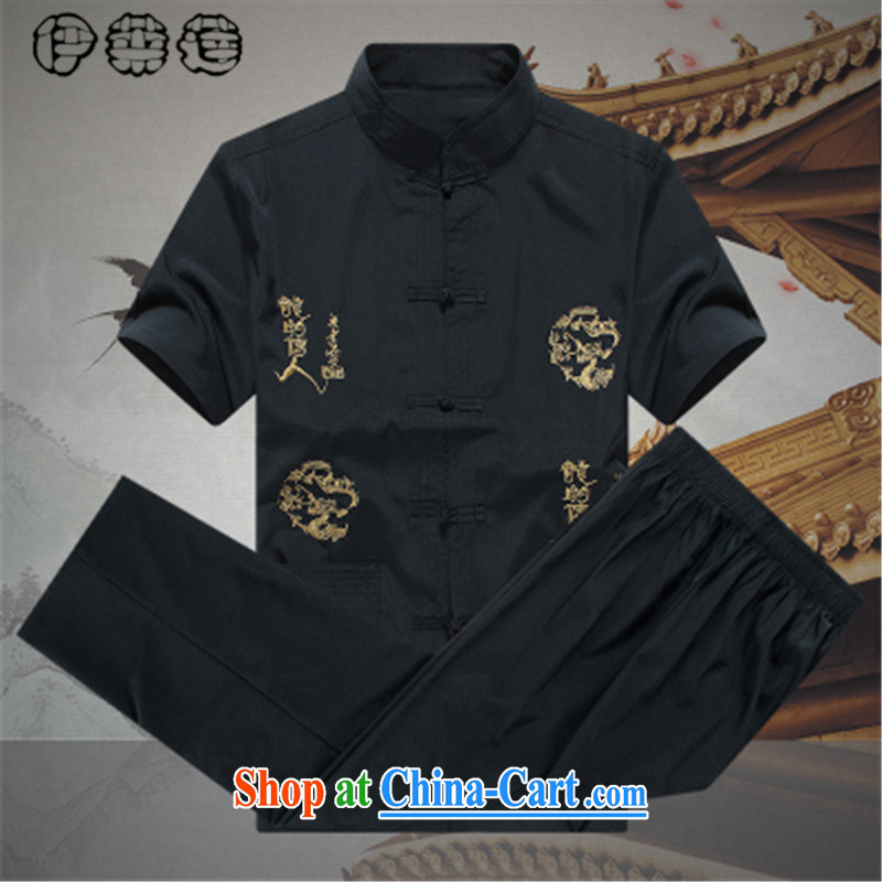 Mr. Lin 2015 summer, male Tang load package summer short-sleeved large code in older persons father male loose the sericultural elderly men's grandfather Tang replace summer A black 185