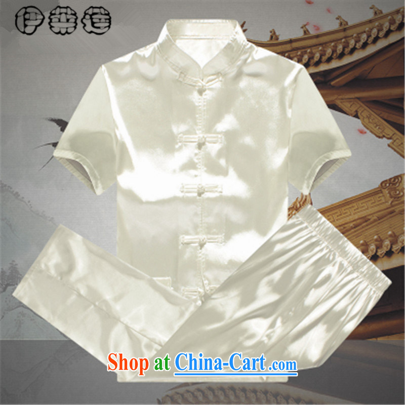 Mr. Lin 2015 summer, male Tang load package summer short-sleeved loose the Code, older people's father and grandfather elderly male leisure Tang with summer white 190