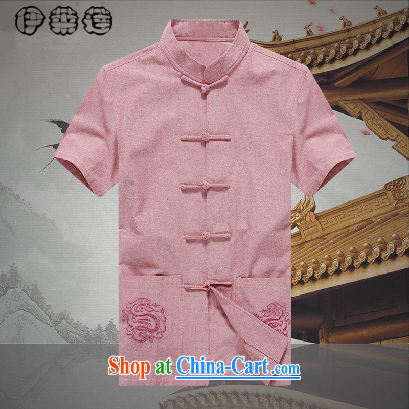 Mr. Lin 2015 summer, men's short-sleeved Chinese T-shirt shirt loose the code Youth Chinese leisure linen from ironing shirt cynosure serving Chinese men and pink 190