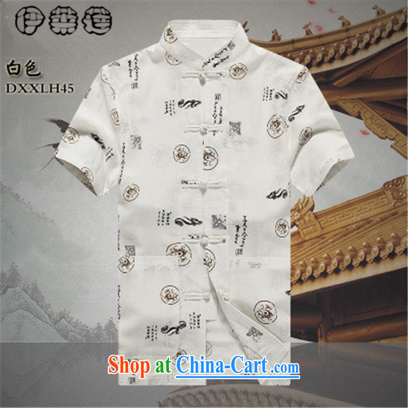 Mr. Lin 2015 summer, China Tang is half sleeve retro-charge stamp duty shirt and middle-aged men's short-sleeved relaxed casual shirt large, white 190