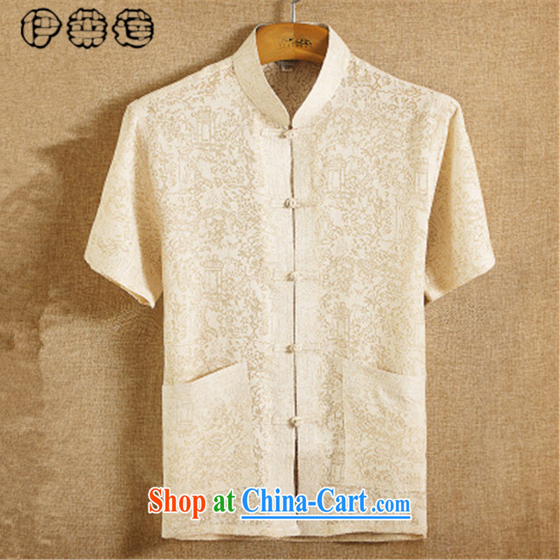 Mr. Lin 2015 Mr Ronald ARCULLI, Mr Tang is the Summer men linen short-sleeve T-shirt, for men's shirts loose the code Chinese China wind Han-service retreat A beige 170