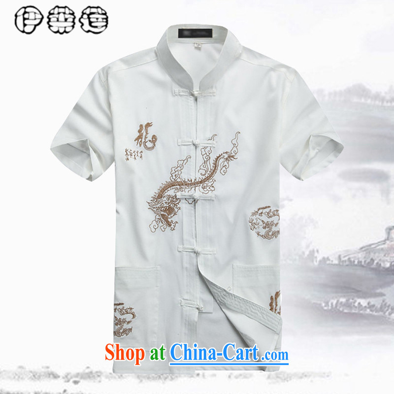 Mr. Lin 2015 summer, middle-aged and older men's summer cotton mA short-sleeved shirt middle-aged men's short-sleeved large code Tang with his father T-shirt old clothes red 185, and Helene elegance (ILELIN), shopping on the Internet