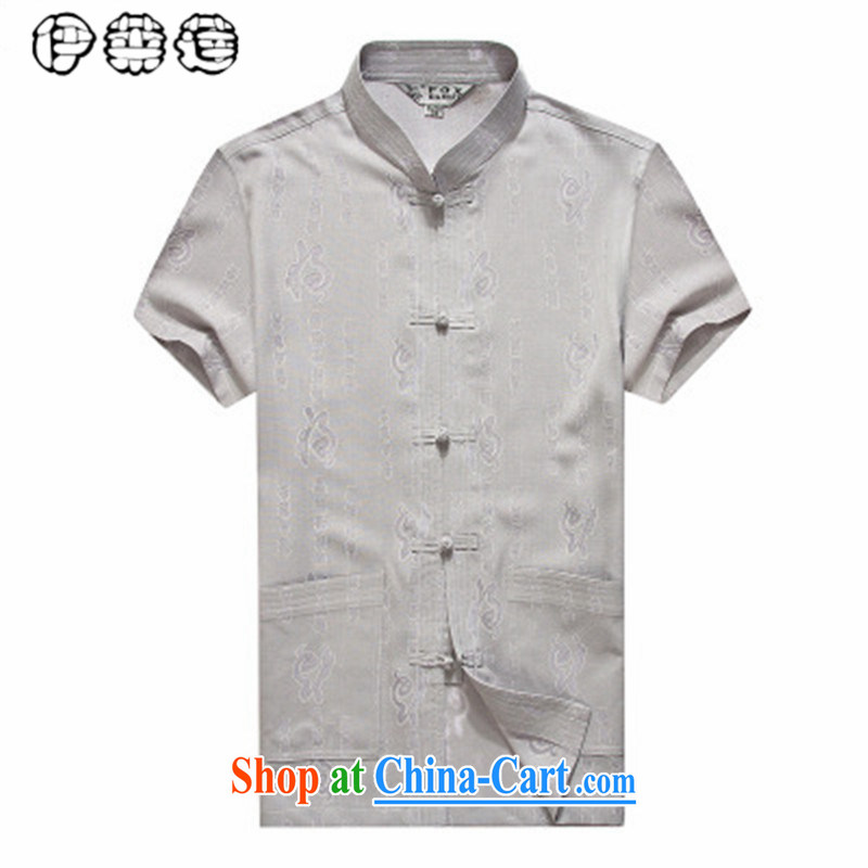 Mr. Lin 2015 summer, middle-aged and older men and Chinese T-shirt loose larger middle-aged men and ethnic costumes China wind half sleeve father with gray 185