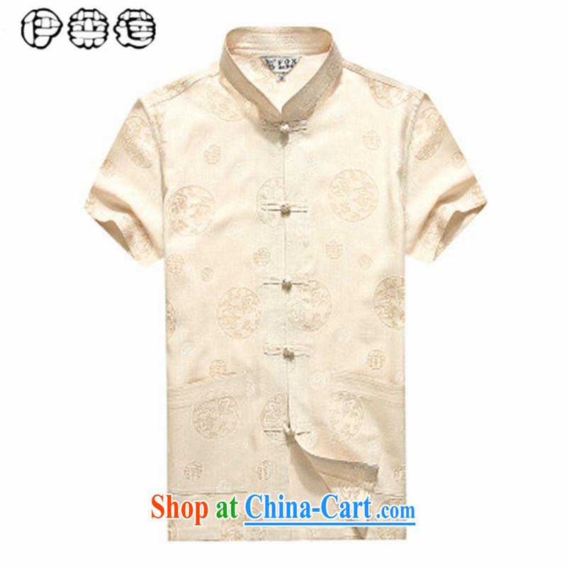 Mr. Lin 2015 summer, middle-aged linen short sleeved T-shirt man, for he is loose the code China wind shirt middle-aged and older, his father yellow 185