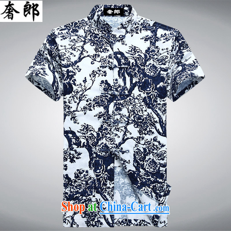 extravagant, colorful, for relaxing blue-and-white printing Chinese Chinese cotton Ma men's T-shirt ethnic wind hand-tie Chinese Han-summer improved more lenient decked 175