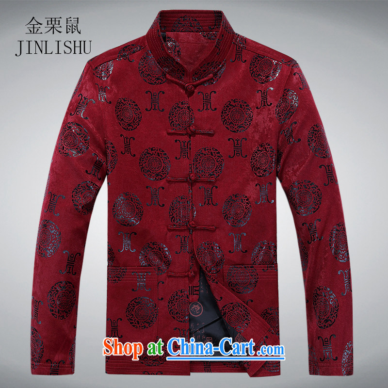 The chestnut mouse older persons Chinese jacket, older men's long-sleeved Chinese clothing hand-tie father replacing T-shirt maroon XXXL