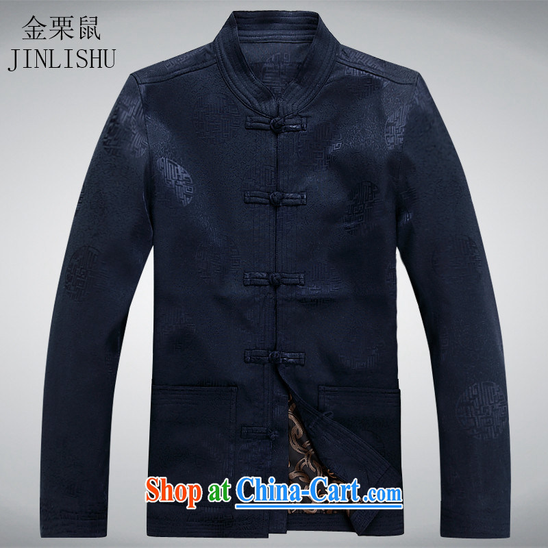 The chestnut mouse Chinese Chinese-Tie long-sleeved jacket shirt, old men and the hypertrophy, Casual Shirt dark blue XXXL